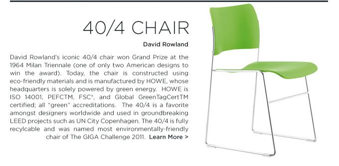 40/4 chair David Rowland HOWE modern green ecofriendly contract chair