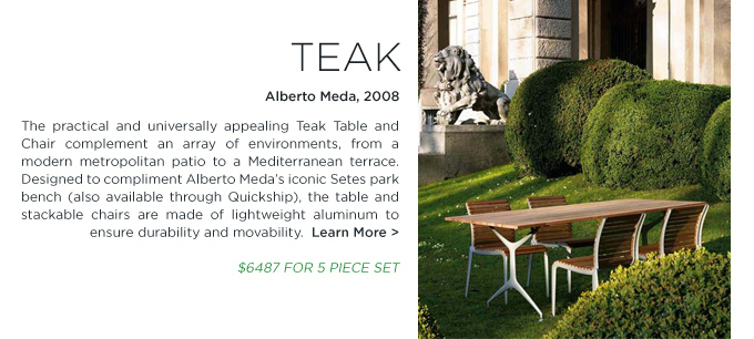 Shop SUITE NY for the Teak outdoor table and chair collection by Alberto Meda for Alias Design