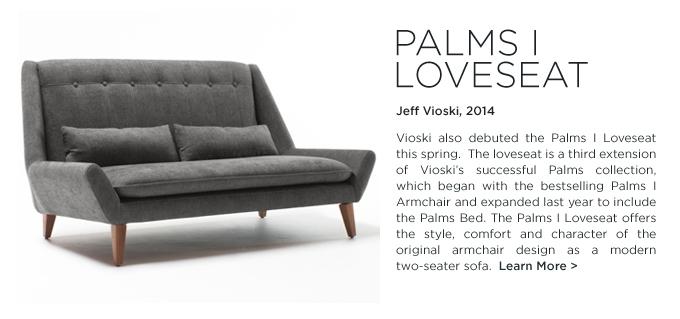 Palms I Loveseat, Jeff Vioski, SUITE NY, modern upholstered low loveseat
