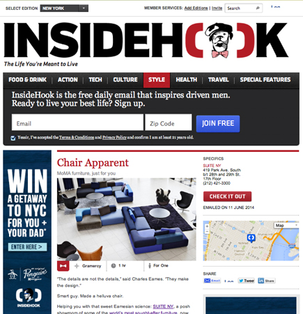 Insidehook, SUITE NY, Suite New York, suiteny.com, insidehook.com, contemporary design, new york showroom, chris krait, alsdkjfaslkjfwieulkj