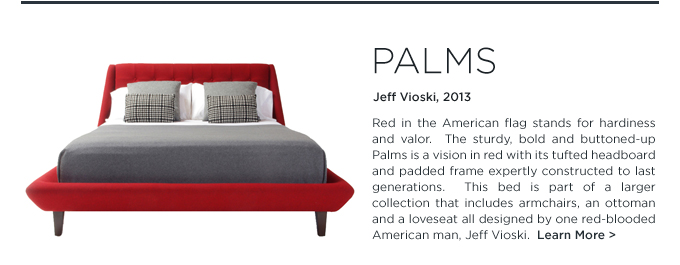 Palms, Red Bed, Palms Bed, red tufted headboard, upholstered bedframe, Jeff Vioski