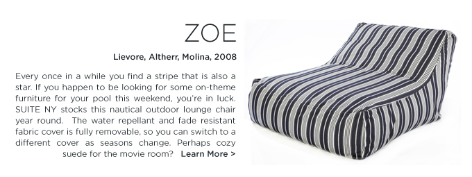 Zoe, verzelloni, striped outdoor pouf, outdoor furniture, outdoor chaise, lievore altherr molina
