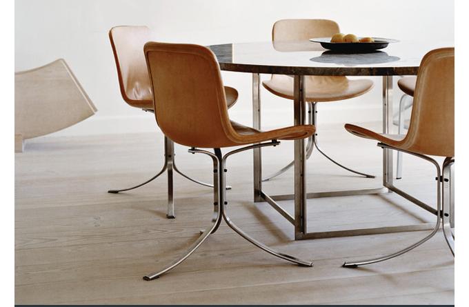 PK9 Chair, Poul Kjaerholm, Fritz Hansen, modern dining chair, cognac leather modern chair, leather modern chair, kjaerholm dining chair, modern tan dining chair