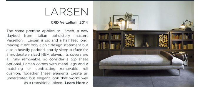 Larsen, daybed, Verzelloni, CRD Verzelloni, Larsen daybed, modern chaise lounge, upholstered grey chaise, upholstered gray daybed