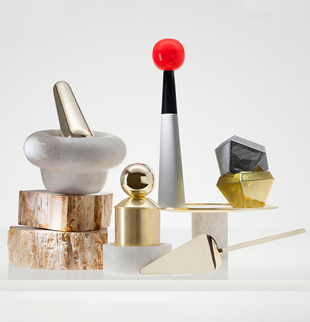 Tom Dixon, Eclectic by Tom Dixon, Tom Dixon collection, accessories, home accessories, mortar pestle, bookends, brass cake knife, copper, brass