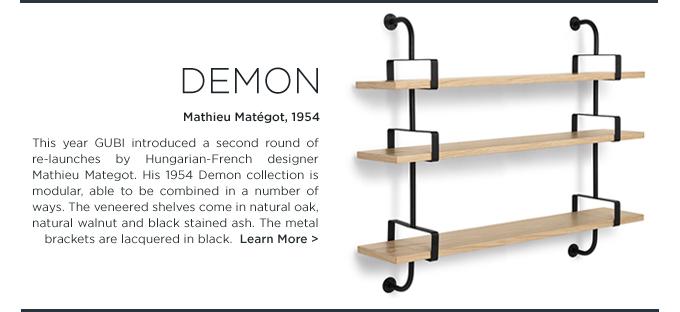 Demon Shelf, Mathieu Mategot, Gubi, modern modular wood black steel shelving unit