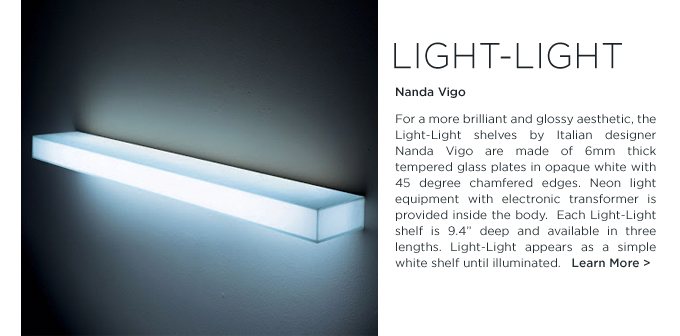 Light-light, Nanda Vigo, Glas Italia, illuminated glass shelf