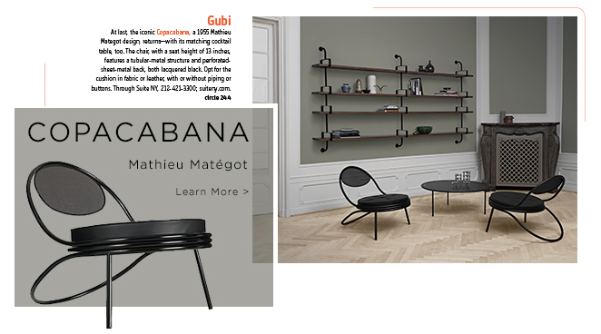 Copacabana, Mathieu Mategot, Copacabana Collection, Copacabana Chair, Copacabana Table, Gubi, iconic furniture, suiteny, suiteny.com, suite new york