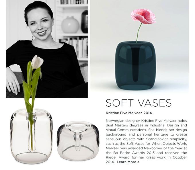 Kristine Five Melvaer, KFM Soft Vases, Melvaer soft vases, when objects work vases, glass organic bud vase,When Objects work, modern, colorful, glass bud vases