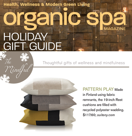 Organic Spa, green home accessories, rest cushions, woodnotes, suite ny, suiteny.com, holiday gift guide, ecofriendly pillows, December 2014 for web