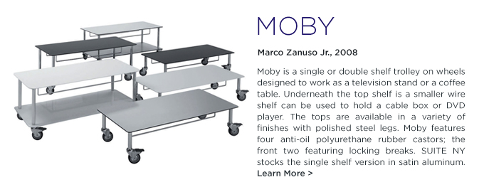 Moby, De Padova, DePadova, Marco Zanuso, SUITE NY, silver, grey, metal, rolling trolley, storage on wheels, modern TV stand, italian design