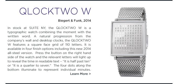 Qlocktwo W, Qlocktwo, Qlocktwo Watch, Biegert & Funk, Biegert Funk, SUITE NY, chrome, steel, modern timepiece