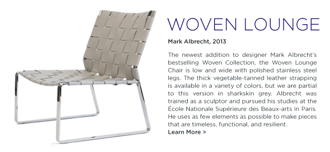 Woven Lounge Chair, Mark Albrecht, SUITE NY, silver, leather, chrome