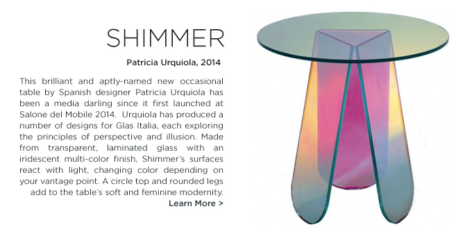 Shimmer Table, Patricia Urquiola, Glas Italia, iridescent, side table