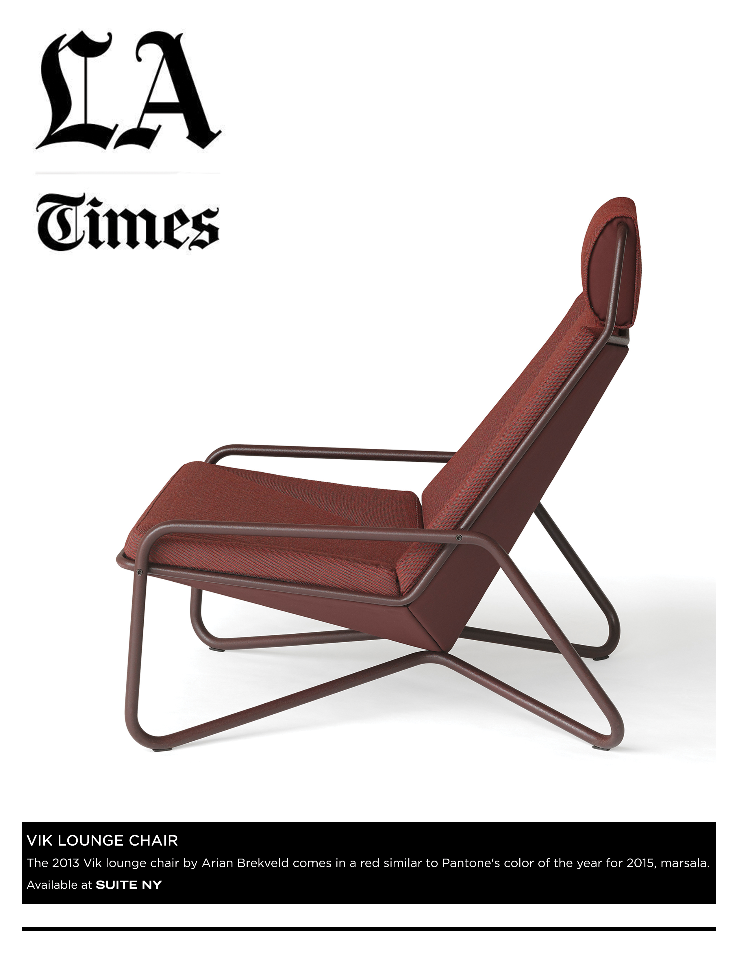 Spectrum, Arian Brekveld, Vik Lounge, Lounge Chairs, Iconic chairs, scandinavian design, marsala, pantone color of the year, 2015, suiteny, suiteny.com, suite new york