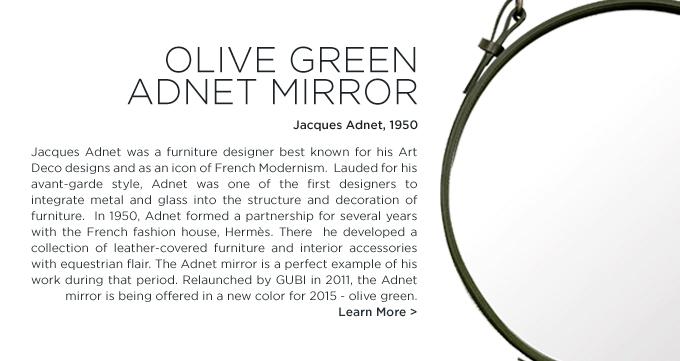 Adnet Mirror, Gubi, Jacques Adnet, olive green, 2015