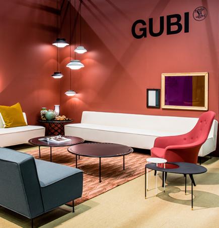 GUBI, white, GUBI Stockholm Furniture Fair, gubi trade show booth, gubi modern line, Greta Grossman, Modern Line, Collar Pendant, Sebastian Herkner