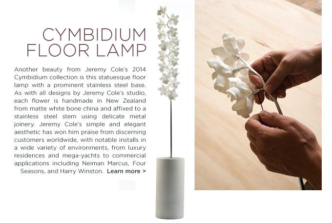 Cymbidium, Floor lamp, Jeremy Cole, lighting, porcelain orchid, cymbidium floor lamp, jeremy cole orchid, new zealand, luxury lighting, luxury floor lamp, designer floor lamp