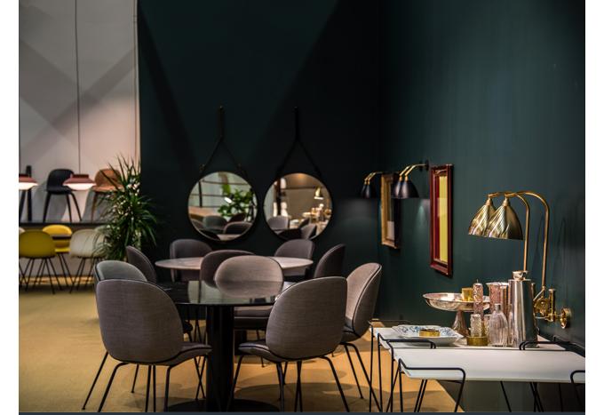GUBI 2015, Gamfratesi, Beetle Chair, gubi table 2.0, brass, green, danish design