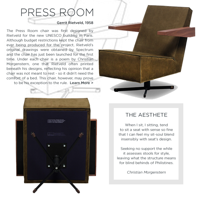 Gerrit Rietveld, Press Room Chair, Suite NY, Spectrum Design, The Netherlands, Rietveld UNESCO, UNESCO Designs, modern designer, midcentury modern