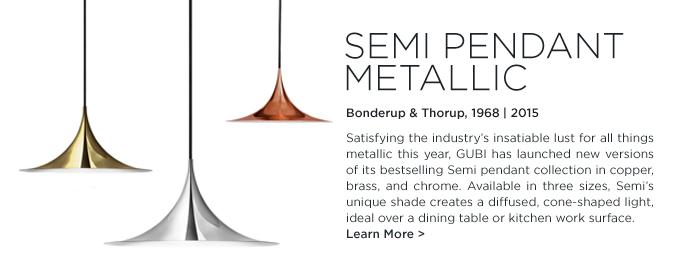 Semi Pendant, Gubi, Bonderup, Thorup, metallic, brass, chrome, copper