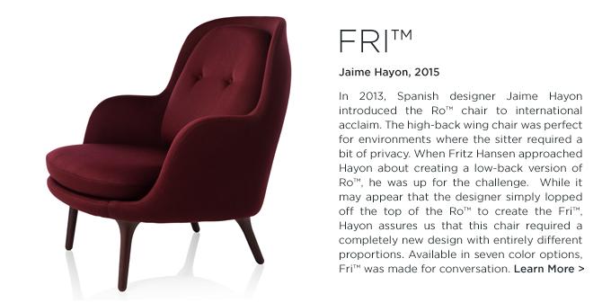Fri chair, jaime hayon, fritz hansen, suite ny, modern lounge, armchair, burgundy, maroon