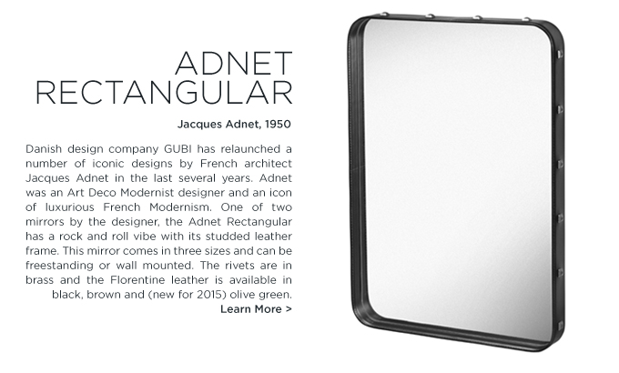 Jacques Adnet, Rectangular mirror, studded leather, rectangle mirror, rectangular leather mirror, GUBI, SUITE NY