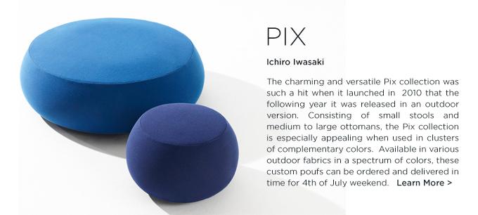 Pix, pix pouf, ichiro iwasaki, arper pix, arper pouf, round ottoman, outdoor ottoman, outdoor poof, outdoor round stool, round, upholstered, outdoor, ottoman