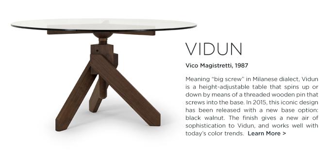 Vidun table, Magistretti Vidun, Vico Magistretti, Depadova, de padova, italian, screw table, black walnut, round dining table, wood, glass
