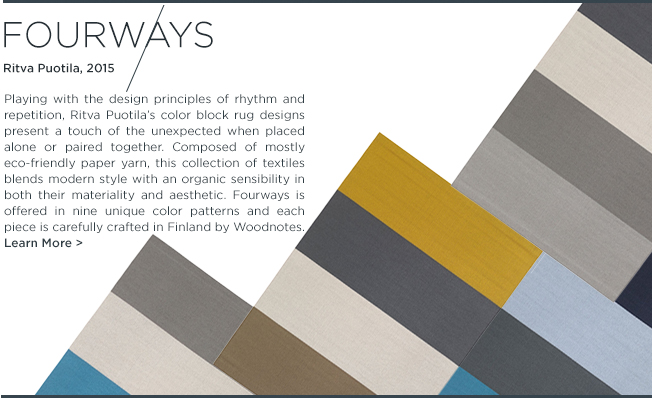 Fourways Rug, Ritva Puotila, Woodnotes, Eco-Friendly, Textiles, Rugs, Contemporary rugs, color block carpets, suite ny, suite new york, icff 2015