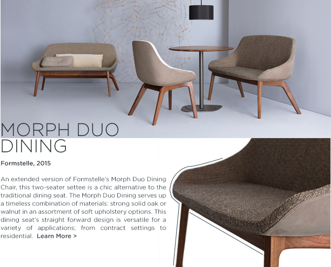 Morph Duo Dining, settee, Formstelle, Zeitraum, solid wood furniture, contemporary dining chairs, dining benches, ice 2015, suite ny, suite new york
