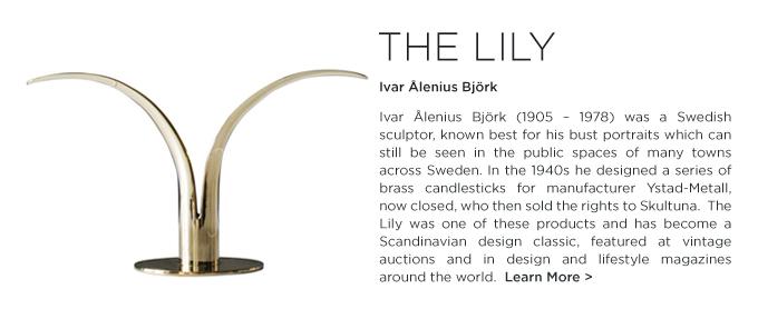 SKULTUNA, The Lily, skultuna lily, brass candle holder, lily candeholder, Ivar Alenius Bjork, polished brass, swedish candle holder, scandinavian design