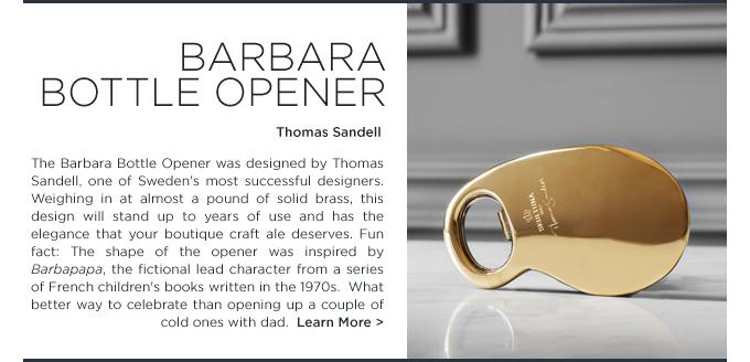 Skultuna Barbara Bottle Opener brass modern gifts SUITE NY