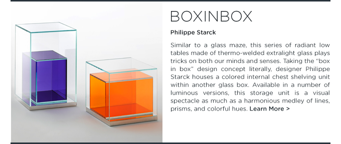 Boxinbox, philippe starck, glas italia, glass table, storage unite, organization furniture, extralight, prisms, italy