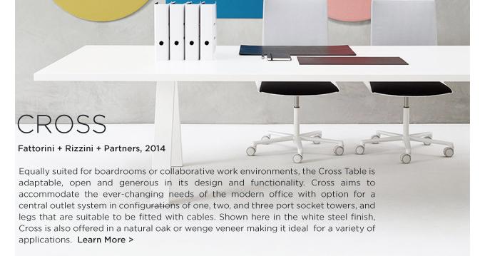 CROSS TABLE FATTORINI RIZZINI PARTNERS ARPER WHITE SHEET STEEL WORKTABLE CONTRACT FURNITURE