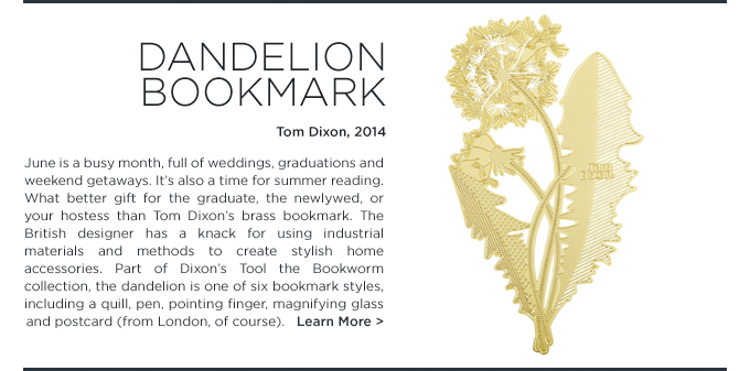 Dandelion Bookmark, Tom Dixon, tool the bookworm, brass, flower, gold, SUITE NY