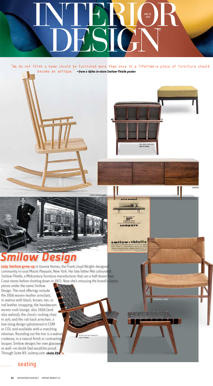 INTERIOR DESIGN MAGAZINE SPRING MARKET GUIDE 2015 SMILOW DESIGN AMERICAN MODERN FURNITURE WOVEN CHAIRS CREDENZA WLC CLASSIC ROCKING CHAIR MEL SMILOW RAILBACK LOUNGE