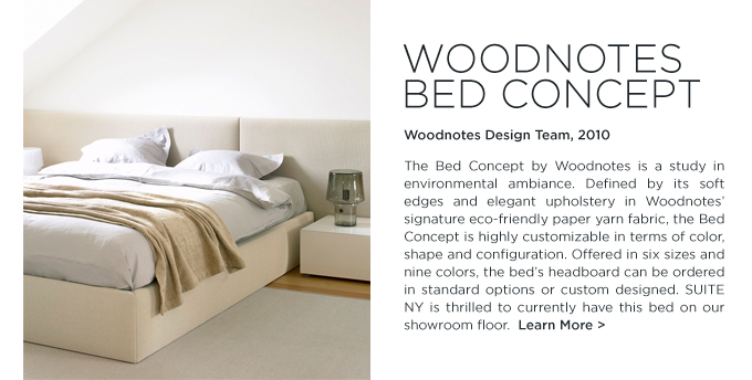 Woodnotes Bed Concept, woodnotes design, woodnotes bed, ecofriendly paper yarn, Finnish, upholstered, SUITE NY