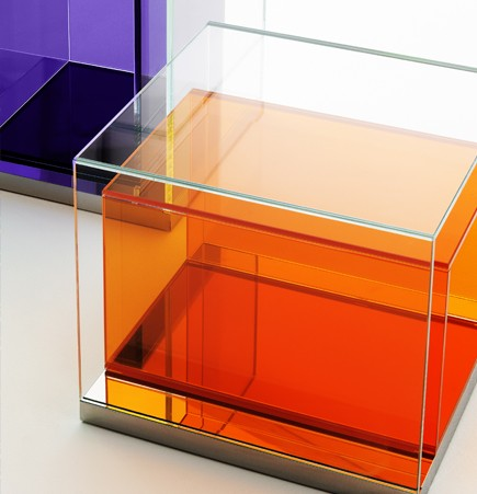 boxinbox, philippe starck, glass table, storage unit, glas italia, extralight, prisms, suite ny