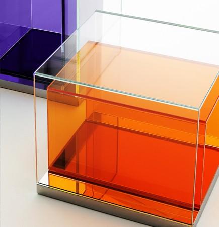 boxinbox, philippe starck, glass table, storage unit, glas italia, extralight, prisms, suite ny
