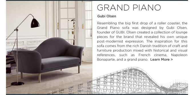 grand piano, gubi olsen, lounge sofa, chaise longue, arch, upholstered sofa, postmodernism, denmark