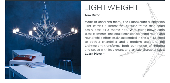 lightweight, tom dixon, suspension lighting, satin glass, geometric, metal, chandelier