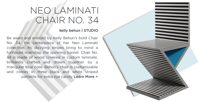 neo laminati chair no. 34, kelly behun studio, wood, custom laminate, striped pattern, contemporary design