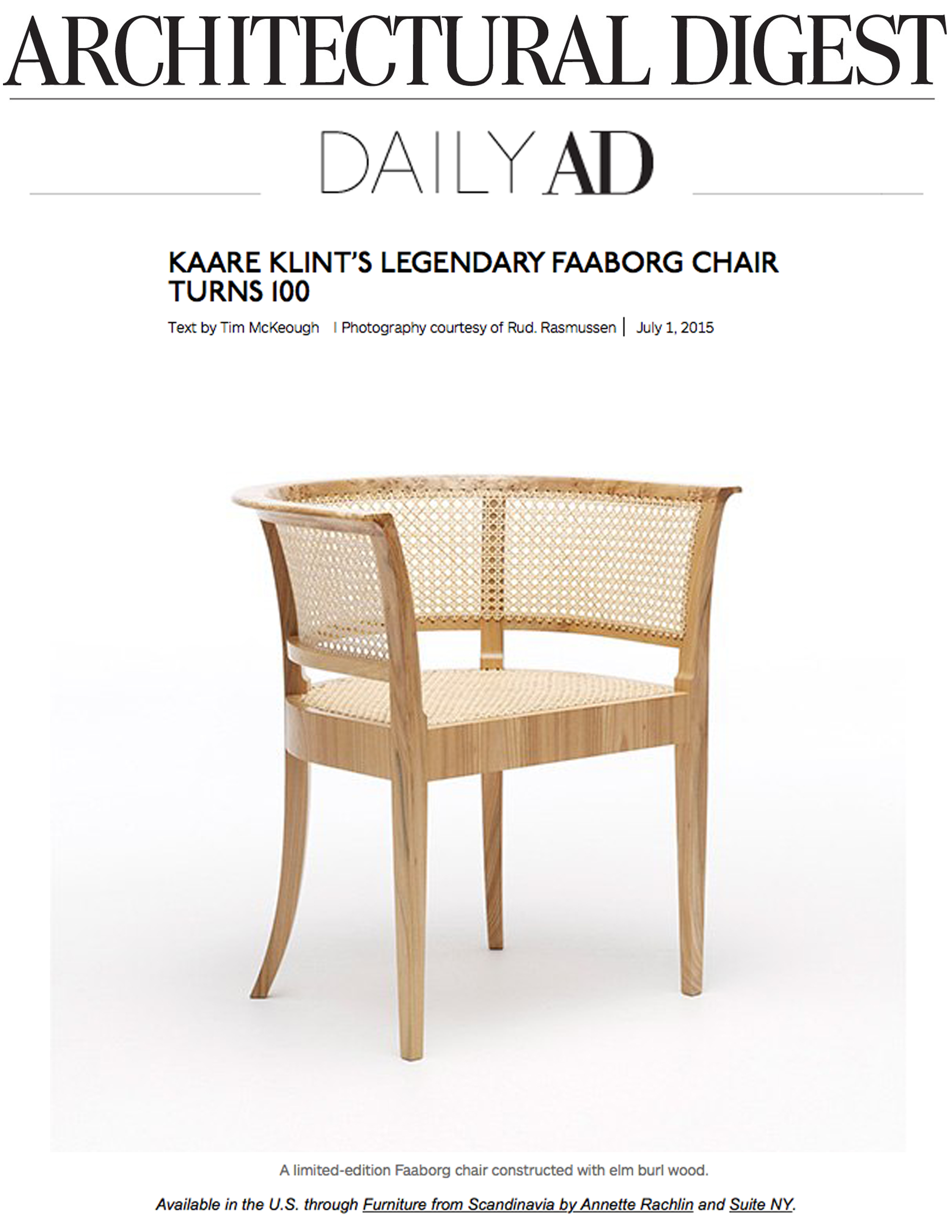Architectural digest daily ad faaborg chair suite news for Designer furniture new york