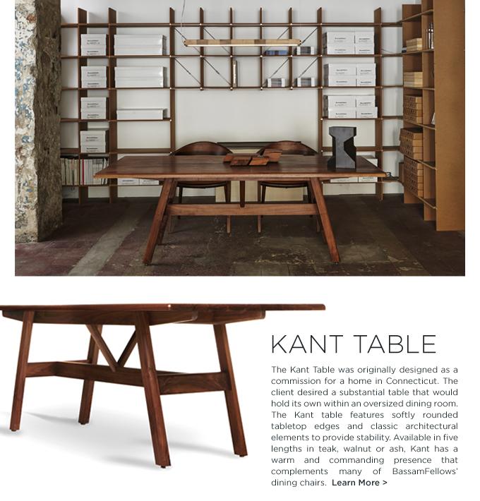 BassamFellows, bassamfellows kant, Kant table, modern dining table, wood, modern long rectangular table, contemporary design, craig bassam, scott fellows, american modern