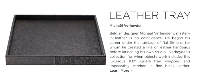 Michael Verheyden, Leather Tray, square, black, when objects work