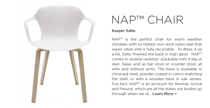 Nap Chair, white chair, modern white dining chair, Kasper Salto, Fritz Hansen