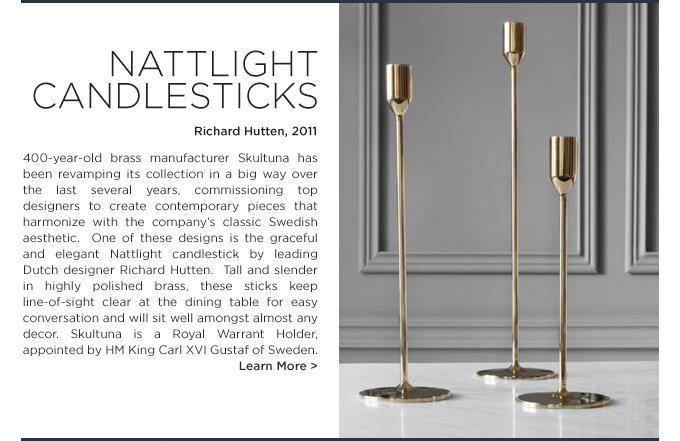 Nattlight candlesticks, skultuna, richard hutten, brass, tall, candle stick, modern, hostess gift