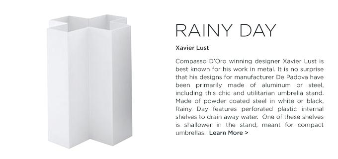 Rainy Day, rainy day umbrella stand, xavier lust rainy day,  Xavier Lust, DePadova, modern white umbrella stand