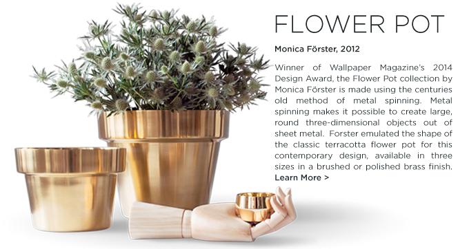 Skultuna, Flower Pot, Monica Forster, polished brass, gardening, modern, hostess, gift